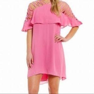 NEW Gianni Bini cutout midi dress bubblegum pink